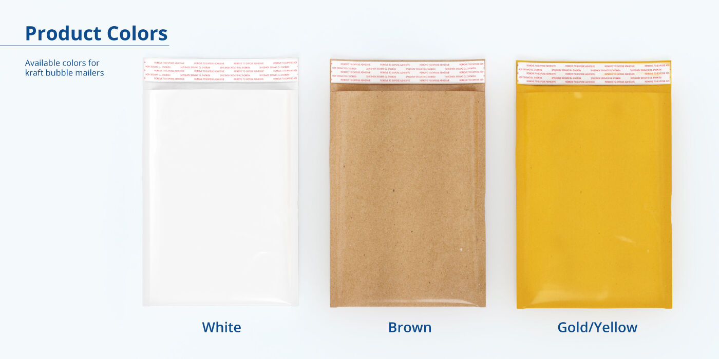 Kraft Bubble Mailers Product Colors
