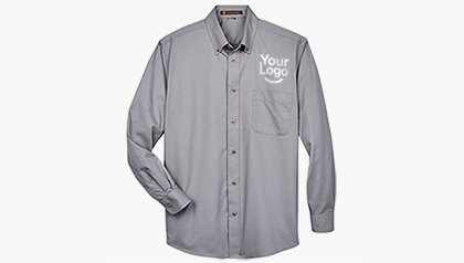 Harriton Men's Long-Sleeve Twill Shirt with Stain-Release